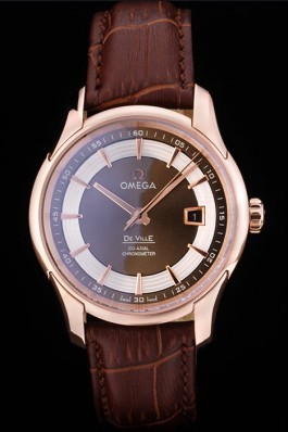 Omega Swiss DeVille Rose Gold Bezel Brown Leather Strap 7614 Omega Replica Watch