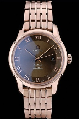 Omega Swiss DeVille Rose Gold Bezel Roman Numbers Brown Dial 7610 Omega Replica Watch