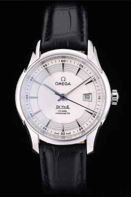 Omega Swiss DeVille Stainless Steel Bezel Black Leather Strap 7618 Omega Replica Watch