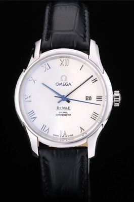 Omega Swiss DeVille Stainless Steel Bezel Black Leather Strap 7620 Omega Replica Watch