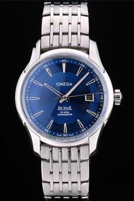 Omega Swiss DeVille Stainless Steel Bezel Blue Dial 7602 Omega Replica Watch