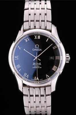 Omega Swiss DeVille Stainless Steel Bezel Roman Numbers Black Dial 7613 Omega Replica Watch