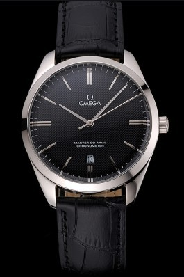 Omega Tresor Master Co-Axial Black Dial Stainless Steel Case Black Leather Strap Omega Replica Watch