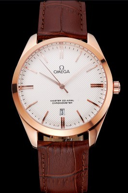 Omega Tresor Master Co-Axial White Dial Rose Gold Case Brown Leather Strap Omega Replica Watch