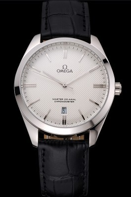 Omega Tresor Master Co-Axial White Dial Stainless Steel Case Black Leather Strap Omega Replica Watch