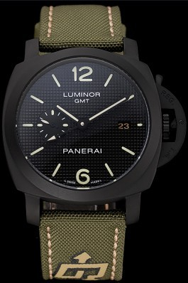 Panerai Luminor 1950 3-Days GMT Black Case Black Dial Green Bracelet 1454015 Panerai Luminor Replica