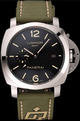 Panerai Luminor 1950 3-Days GMT Silver Case Black Dial Green Bracelet 1454016 Panerai Luminor Replica