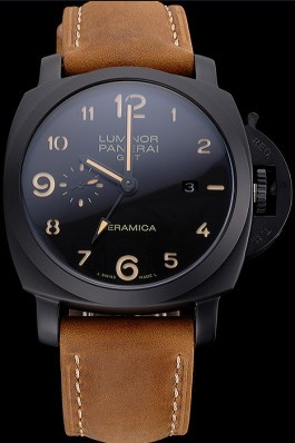 Panerai Luminor 1950 GMT Ceramica Black Dial Matte Black Case Brown Suede Leather Strap Panerai Luminor Replica