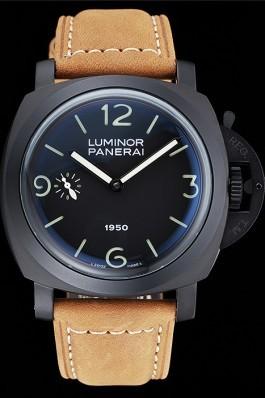 Panerai Luminor Black Ionized Stainless Steel Case Black Dial Brown Suede Leather Strap Panerai Luminor Replica