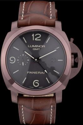 Panerai Luminor Brown Leather Strap Black Dial 80160 Panerai Luminor Replica