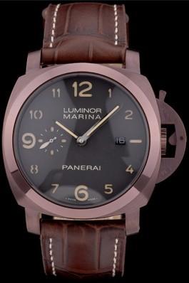 Panerai Luminor Brown Leather Strap Black Dial 80161 Panerai Luminor Replica