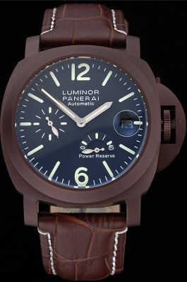 Panerai Luminor Brown Leather Strap Black Dial 80162 Panerai Luminor Replica