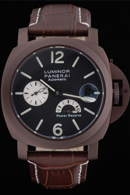 Panerai Luminor Brown Leather Strap Black Dial 80163 Panerai Luminor Replica