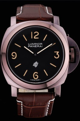 Panerai Luminor Brown Leather Strap Black Dial 80164 Panerai Luminor Replica