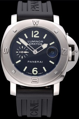 Panerai Luminor Brushed Stainless Steel Case Black Dial Black Rubber Strap 98165 Panerai Luminor Replica