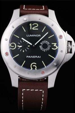 Panerai Luminor Brushed Stainless Steel Case Black Dial Dark Brown Leather Strap Panerai Luminor Replica