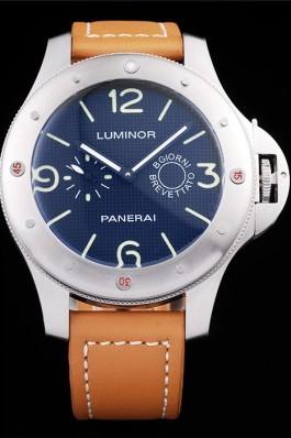 Panerai Luminor Brushed Stainless Steel Case Blue Dial Brown Leather Strap Panerai Luminor Replica