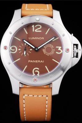 Panerai Luminor Brushed Stainless Steel Case Brown Dial Brown Leather Strap Panerai Luminor Replica