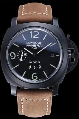 Panerai Luminor GMT Ion Plated Stainless Steel Bezel Khaki Leather Bracelet 622315 Panerai Luminor Replica
