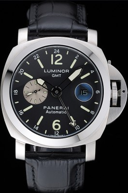 Panerai Luminor Gmt Black Dial Black Leather Bracelet Panerai Luminor Replica