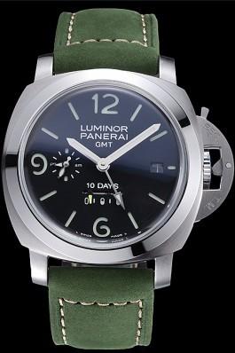 Panerai Luminor GMT Stainless Steel Bezel Green Leather Bracelet 622318 Panerai Luminor Replica