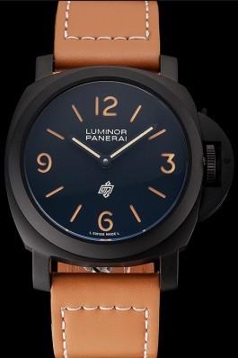 Panerai Luminor Ion Plated Stainless Steel Bezel Orange Leather Bracelet 622309 Panerai Luminor Replica