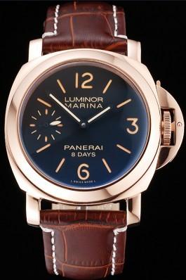 Panerai Luminor Marina 8 Days Black Dial Rose Gold Case Brown Leather Strap Panerai Luminor Replica