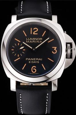 Panerai Luminor Marina 8 Days Black Dial Stainless Steel Case Black Leather Strap Panerai Luminor Replica