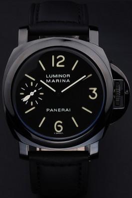 Black Leather Band Top Quality Panerai Marina Black Leather Men's Luxury Watch 4770 Panerai Luminor Replica