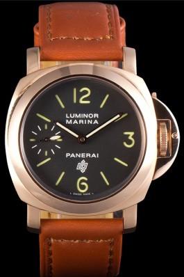 Brown Leather Band Top Quality Brown Men's Panerai Luminor Marina Luxury Watch 4768 Panerai Luminor Replica