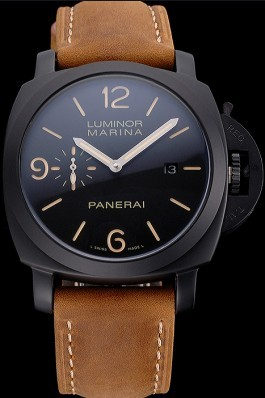 Panerai Luminor Marina Black Dial Matte Black Steel Case Brown Suede Leather Strap Panerai Luminor Replica