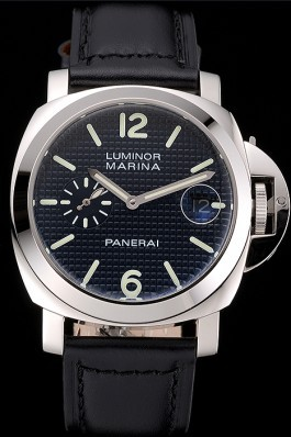 Panerai Luminor Marina Date Black Hobnail Pattern Dial Stainless Steel Case Black Leather Strap Panerai Luminor Replica