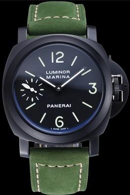 Panerai Luminor Marina Ion Plated Stainless Steel Bezel Green Leather Bracelet 622312 Panerai Luminor Replica