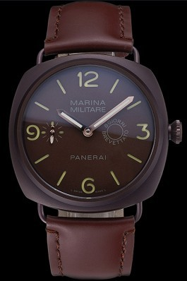 Panerai Luminor Marina Militare Purple Stainless Steel Bezel Brown Bracelet 622321 Panerai Luminor Replica