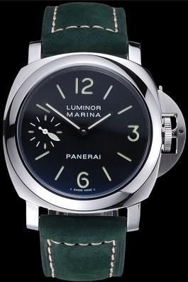 Panerai Luminor Marina Polished Stainless Steel Bezel Green Leather Bracelet 622310 Panerai Luminor Replica
