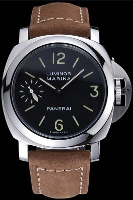 Panerai Luminor Marina Stainless Steel Bezel Khaki Leather Bracelet 622311 Panerai Luminor Replica
