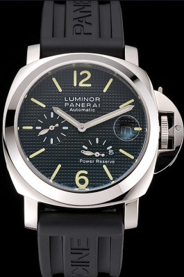 Panerai Luminor Power Reserve Black Hobnail Pattern Dial Stainless Stel Case Black Rubber Strap Panerai Luminor Replica