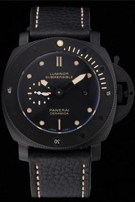 Panerai Luminor Submersible Black Dial Black Case Black Leather Strap Panerai Luminor Replica