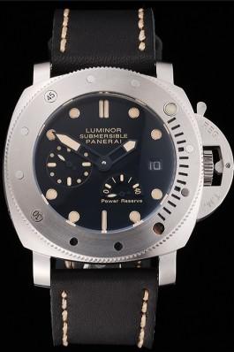 Panerai Luminor Submersible Black Dial Stainless Steel Case Black Leather Strap Panerai Luminor Replica