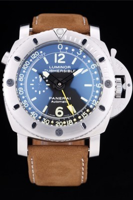 Panerai Luminor Submersible Black Dial Suede Leather Bracelet Panerai Luminor Replica