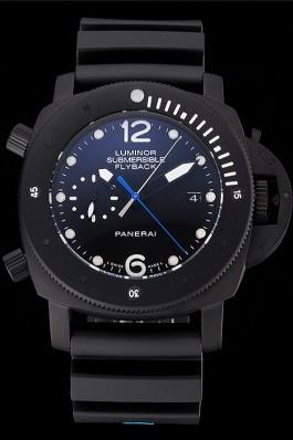 Panerai Luminor Submersible Flyback Date Black Dial Black Ionized Case Black Rubber Strap Panerai Luminor Replica