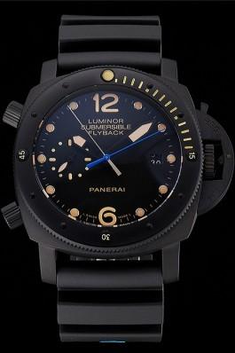 Panerai Luminor Submersible Flyback Date Black Dial Yellow Markings Black Ionized Case Black Rubber Strap Panerai Luminor Replica