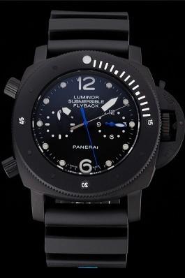 Panerai Luminor Submersible Flyback GMT Black Dial Black Ionized Case Black Rubber Strap Panerai Luminor Replica