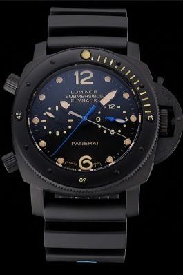 Panerai Luminor Submersible Flyback GMT Black Dial Yellow Markings Black Ionized Case Black Rubber Strap Panerai Luminor Replica