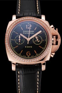 Panerai Radiomir 8 Days Chronograph Black Dial Diamond Bezel Rose Gold Case Black Leather Strap 1453798 Panerai Replica Watch