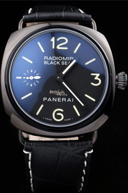 Panerai Radiomir Black Ceramic Case Black Dial Black Leather Strap 98135 Panerai Replica Watch