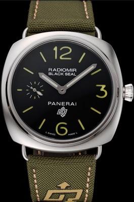 Panerai Radiomir Black Seal Logo Acciaio Black Dial Green Bracelet 1454017 Panerai Replica Watch
