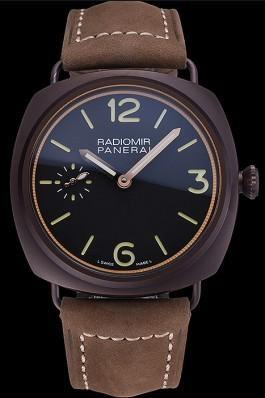 Panerai Radiomir Brown Stainless Steel Bezel Brown Leather Bracelet 622324 Panerai Replica Watch
