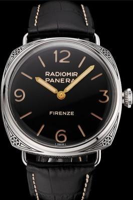 Panerai Radiomir Firenze 3 Days Acciaio PAM604 Black Dial Engraved Stainless Stell Case Black Leather Strap Panerai Replica Watch