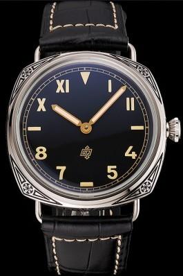 Panerai Radiomir Firenze PAM604 Black Dial Roman Numerals Engraved Stainless Steel Case Black Leather Strap Panerai Replica Watch